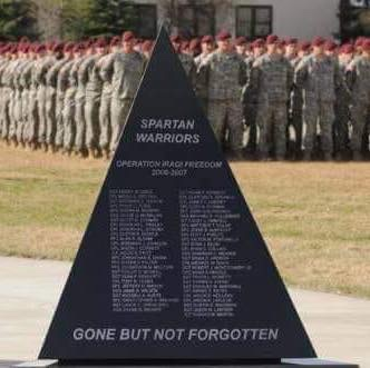 Memorial to Soldier lost In support of Operation Iraqi Freedom 2006 to 2008