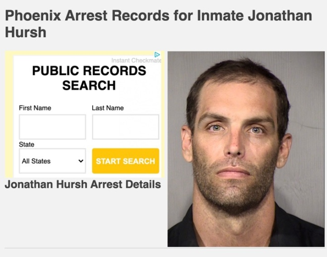 Mugshot of Phoenix resident Jonathan Hursh arrested for questioning a police officer in his neighborhood